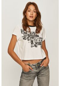 Biała bluzka DKNY na co dzień, z okrągłym kołnierzem