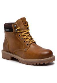 Brązowe buty zimowe Jack & Jones z aplikacjami