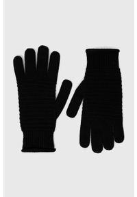 Sisley - Rękawiczki z domieszką kaszmiru. Kolor: czarny. Materiał: kaszmir. Wzór: gładki