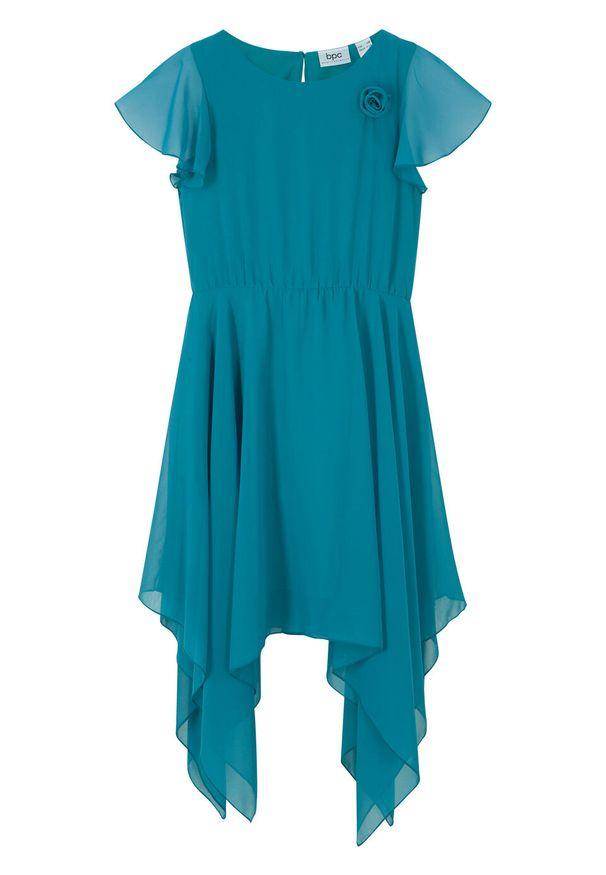 Sukienka dziewczęca plisowana na uroczyste okazje bonprix morski turkusowy. Kolor: niebieski