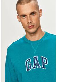 Niebieska bluza nierozpinana GAP z okrągłym kołnierzem, casualowa, z aplikacjami