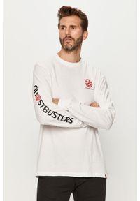 Biała koszulka z długim rękawem Element z okrągłym kołnierzem, z nadrukiem