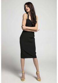 Czarna sukienka wizytowa Nommo midi
