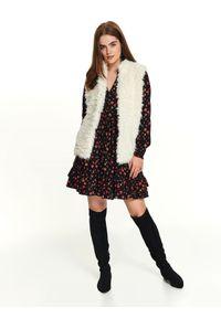 Biała kamizelka TOP SECRET na jesień, elegancka, w kolorowe wzory