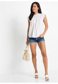 Shirt z koronką bonprix biały. Kolor: biały. Materiał: koronka. Wzór: koronka