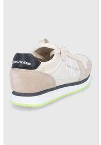 Calvin Klein Jeans - Buty. Nosek buta: okrągły. Zapięcie: sznurówki. Kolor: beżowy. Materiał: guma. Obcas: na obcasie. Wysokość obcasa: niski