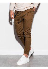 Brązowe spodnie Ombre Clothing na co dzień, z aplikacjami, casualowe