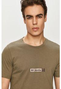 Brązowy t-shirt columbia z nadrukiem, casualowy, na co dzień