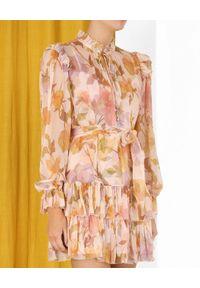 ZIMMERMANN - Wielowarstwowa sukienka w kwiaty. Kolor: beżowy. Materiał: jedwab. Wzór: kwiaty. Długość: mini