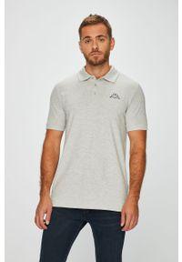 Szara koszulka polo Kappa casualowa, krótka, polo, na co dzień