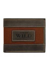 ALWAYS WILD - Portfel męski czarno-brązowy Always Wild N992-JEANS BROWN. Kolor: brązowy. Materiał: skóra