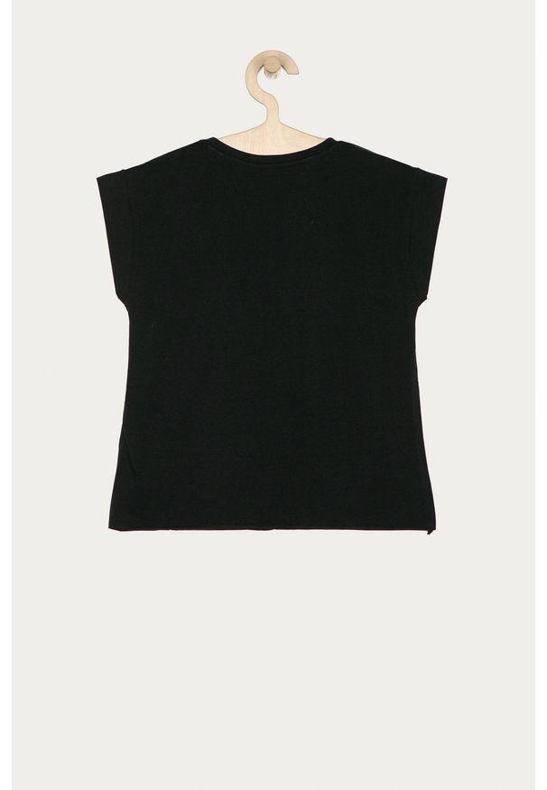 Czarna bluzka z krótkim rękawem Guess Jeans z nadrukiem, z okrągłym kołnierzem