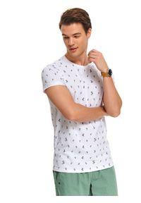 Biały t-shirt TOP SECRET z krótkim rękawem, na lato
