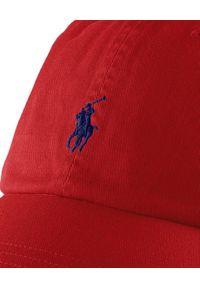 Ralph Lauren - RALPH LAUREN - Czerwona czapka. Kolor: czerwony. Materiał: materiał, bawełna. Wzór: haft, aplikacja, napisy. Styl: klasyczny