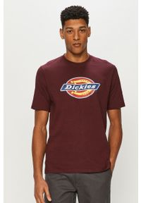 Brązowy t-shirt Dickies na co dzień, casualowy, z nadrukiem