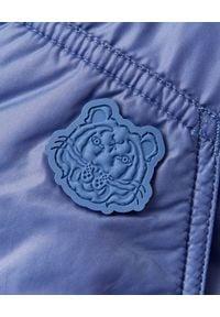 Kenzo - KENZO - Dwustronny płaszcz puchowy. Okazja: na co dzień. Kolor: niebieski. Materiał: puch. Długość rękawa: długi rękaw. Długość: długie. Sezon: zima. Styl: klasyczny, casual, sportowy