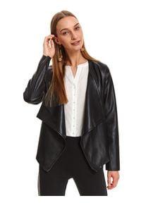 Czarna kurtka TOP SECRET na jesień, casualowa, długa, w kolorowe wzory