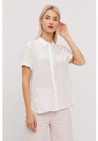 Bimba y Lola - BIMBA Y LOLA - Koszula. Okazja: na co dzień. Kolor: biały. Materiał: tkanina. Długość rękawa: krótki rękaw. Długość: krótkie. Wzór: gładki. Styl: casual