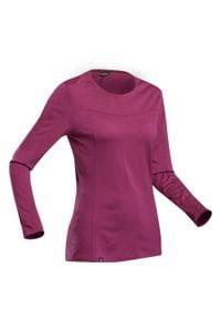 FORCLAZ - Koszulka trekkingowa z długim rękawem - TREK 500 MERINO - damska. Kolor: fioletowy. Materiał: wełna, materiał, poliamid. Długość rękawa: długi rękaw. Długość: długie