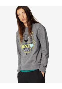 Kenzo - KENZO - Bluza z tygrysem Limited. Kolor: szary. Materiał: bawełna. Wzór: haft, melanż