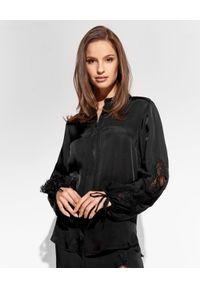 Ermanno Firenze - ERMANNO FIRENZE - Czarna koszula z bufiastymi rękawami. Kolor: czarny. Materiał: tkanina, wiskoza, satyna, koronka. Wzór: gładki, koronka, aplikacja. Styl: elegancki