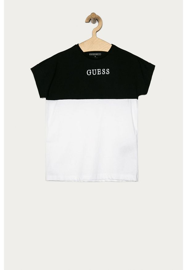 Czarna bluzka z krótkim rękawem Guess Jeans casualowa, krótka
