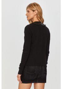 Czarny sweter Pinko na co dzień, z długim rękawem, casualowy, długi