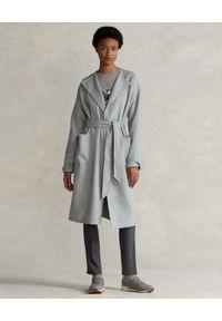 Ralph Lauren - RALPH LAUREN - Wełniany szary płaszcz Relaxed fit. Typ kołnierza: polo. Kolor: szary. Materiał: wełna