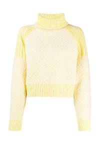 Kenzo - KENZO - Żółty wełniany sweter z golfem. Typ kołnierza: golf. Kolor: żółty. Materiał: wełna. Wzór: haft, kolorowy, ze splotem