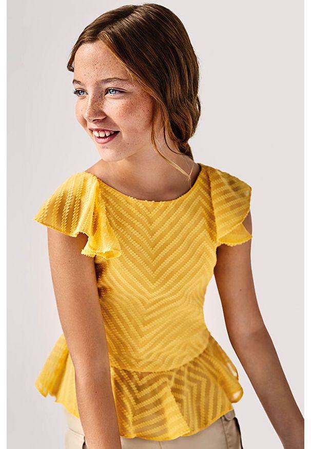 Mayoral - Bluzka dziecięca. Okazja: na co dzień. Kolor: pomarańczowy. Materiał: poliester, tkanina, materiał, bawełna. Długość rękawa: bez rękawów. Wzór: gładki. Styl: elegancki, casual