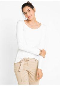 Shirt bawełniany z okrągłym dekoltem i długim rękawem bonprix biały. Kolor: biały. Materiał: bawełna. Długość rękawa: długi rękaw. Długość: długie