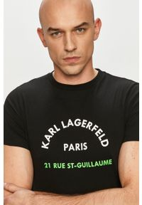 Karl Lagerfeld - T-shirt. Okazja: na co dzień. Kolor: czarny. Wzór: nadruk. Styl: casual