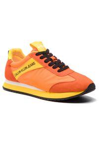 Pomarańczowe buty sportowe Calvin Klein Jeans na co dzień, z cholewką