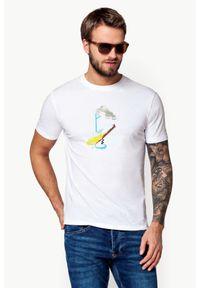 Biały t-shirt Lancerto klasyczny, z nadrukiem, z klasycznym kołnierzykiem