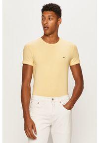 Żółty t-shirt TOMMY HILFIGER gładki