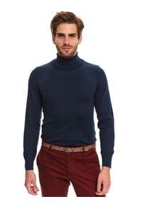 TOP SECRET - Sweter golf z miękkiej dzianiny. Okazja: na co dzień, do pracy. Typ kołnierza: golf. Kolor: niebieski. Materiał: dzianina. Długość: długie. Sezon: zima. Styl: elegancki, casual
