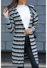 Wielokolorowy sweter IVET w paski, do kolan