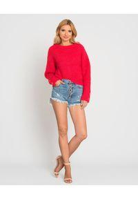 Kenzo - KENZO - Czerwony sweter z frędzlami. Kolor: czerwony. Materiał: materiał. Wzór: aplikacja