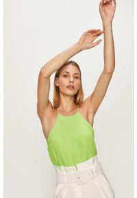 Zielona bluzka ANSWEAR casualowa, na co dzień, na ramiączkach, z okrągłym kołnierzem