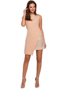 MAKEOVER - Beżowa Wieczorowa Asymetryczna Sukienka Mini. Kolor: beżowy. Materiał: poliester, elastan. Typ sukienki: asymetryczne. Styl: wizytowy. Długość: mini