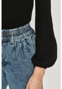 Czarna bluzka Answear Lab gładkie, z długim rękawem, na co dzień, długa