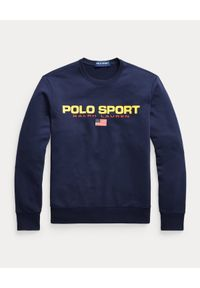 Ralph Lauren - RALPH LAUREN - Granatowa bluza Polo Sport. Typ kołnierza: polo. Kolor: niebieski. Materiał: prążkowany, bawełna. Wzór: napisy, nadruk. Styl: sportowy