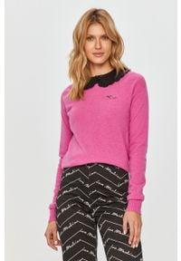 Różowy sweter Pinko klasyczny, długi, na co dzień, z długim rękawem