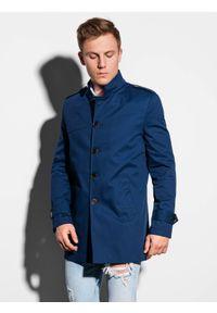 Ombre Clothing - Płaszcz męski wiosenny C269 - granatowy - XXL. Typ kołnierza: kołnierzyk stójkowy. Kolor: niebieski. Materiał: bawełna, poliester. Sezon: wiosna. Styl: elegancki