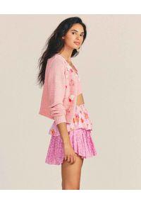 LOVE SHACK FANCY - Spódnica z kontrastowymi wzorami. Kolor: fioletowy, różowy, wielokolorowy. Materiał: bawełna, wełna. Wzór: nadruk, kwiaty. Sezon: lato. Styl: klasyczny