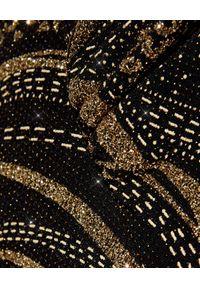 Camilla - CAMILLA - Body z głębokim dekoltem i kryształami. Okazja: na imprezę. Typ kołnierza: dekolt halter. Kolor: brązowy. Materiał: jeans, materiał, elastan. Wzór: nadruk. Sezon: lato