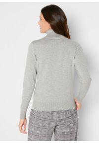 Sweter z golfem bonprix jasnoszary melanż. Typ kołnierza: golf. Kolor: szary. Wzór: melanż