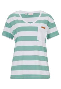 Shirt z bawełny organicznej bonprix zielony szałwiowy - biały w paski. Typ kołnierza: dekolt w serek. Kolor: zielony. Materiał: bawełna. Wzór: paski
