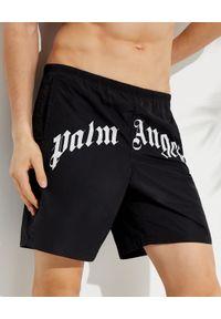 PALM ANGELS - Spodenki kąpielowe z logo. Kolor: czarny. Materiał: materiał