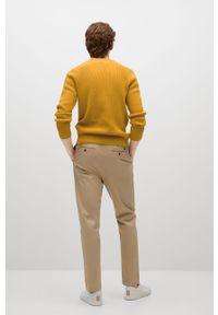 Żółty sweter Mango Man na co dzień, z długim rękawem, casualowy, długi